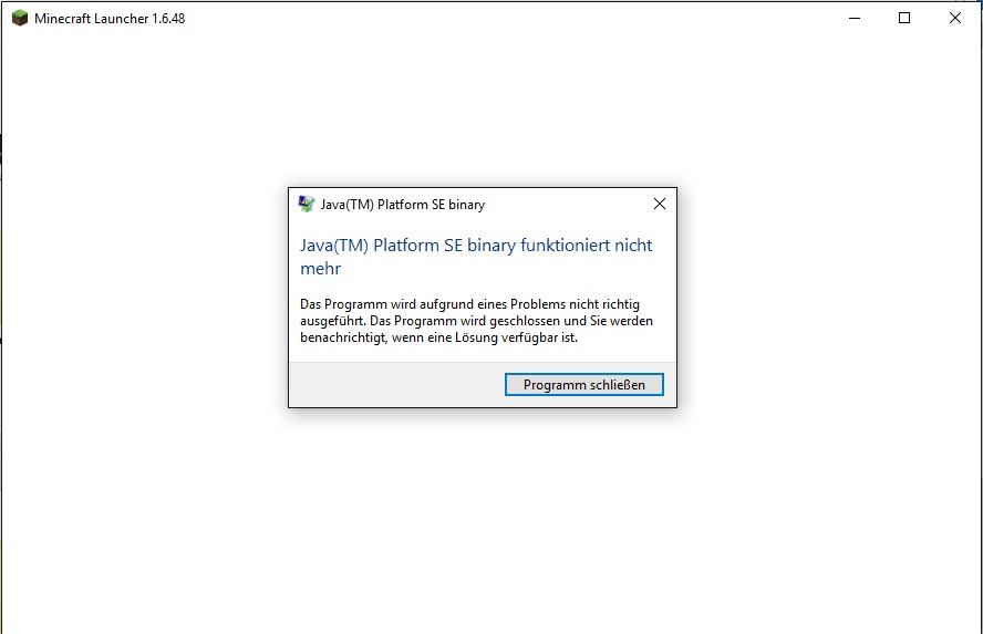 Fehlermeldung Beim Start Von Minecraft JavaTM Platform SE Binary - Minecraft server erstellen geht nicht